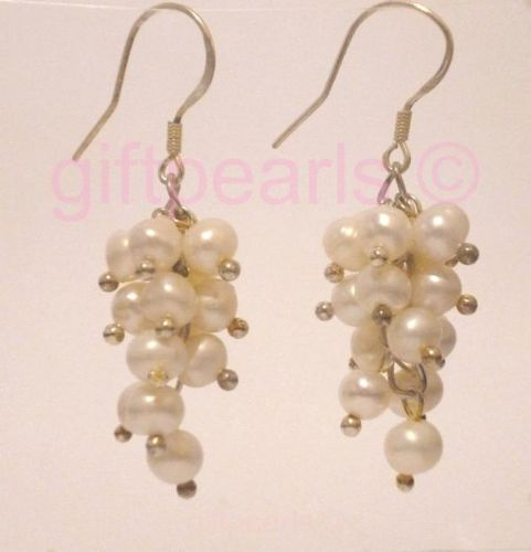 White pearl 'Grapes' ear-rings.